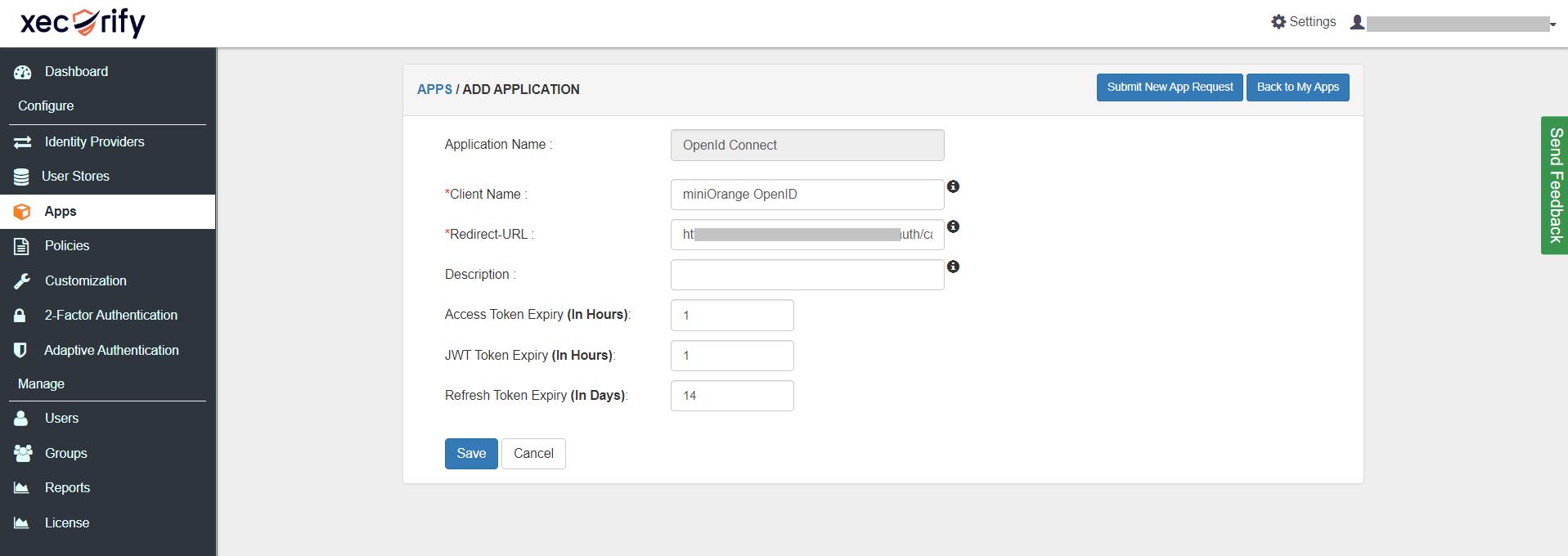 OAuth/OpenID/OIDC Single Sign On (SSO), miniOrange SSO, Fill Application Information