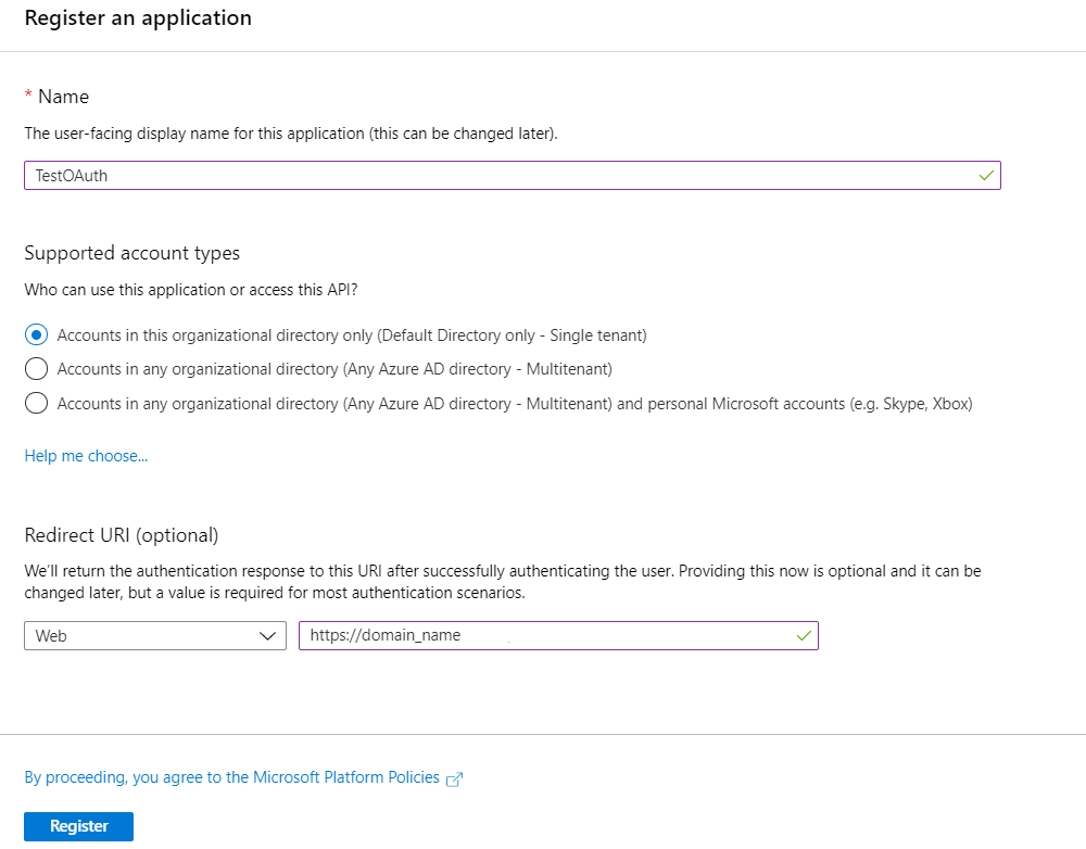 OAuth/OpenID/OIDC Single Sign On (SSO), AzureAD SSO registration