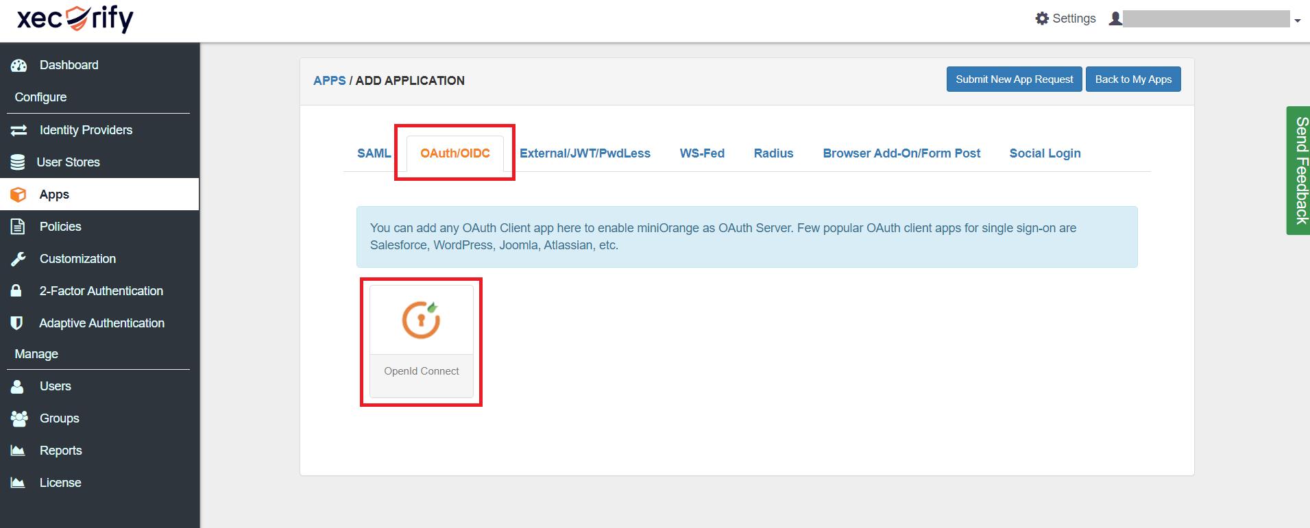 OAuth/OpenID/OIDC Single Sign On (SSO), miniOrange SSO,Add Application