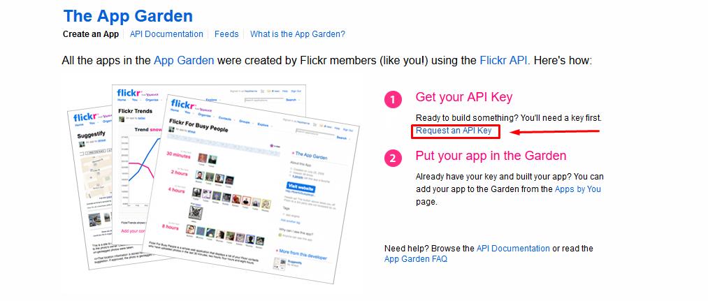 flickr create app