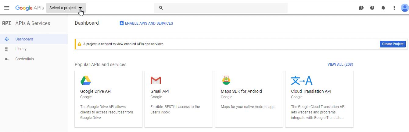 Google create project