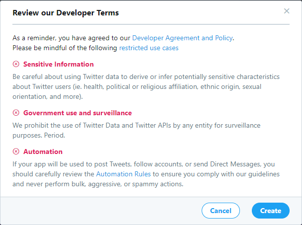 Twitter Developer Terms