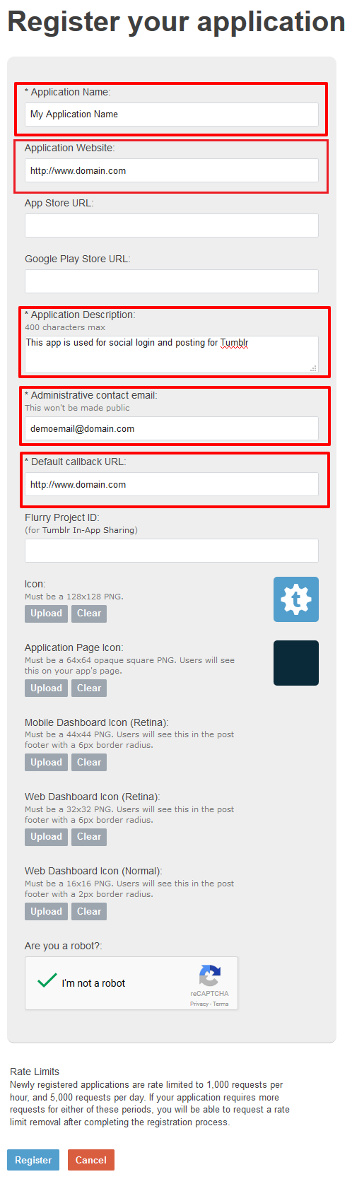 application information & Redirect URL