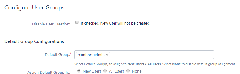 Bamboo oauth Single Sign On - SSO - Default group