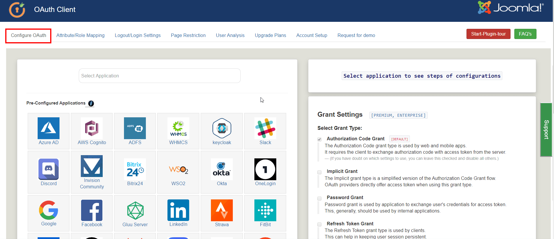 Joomla OAuth Client Plugin - Configure OAuth