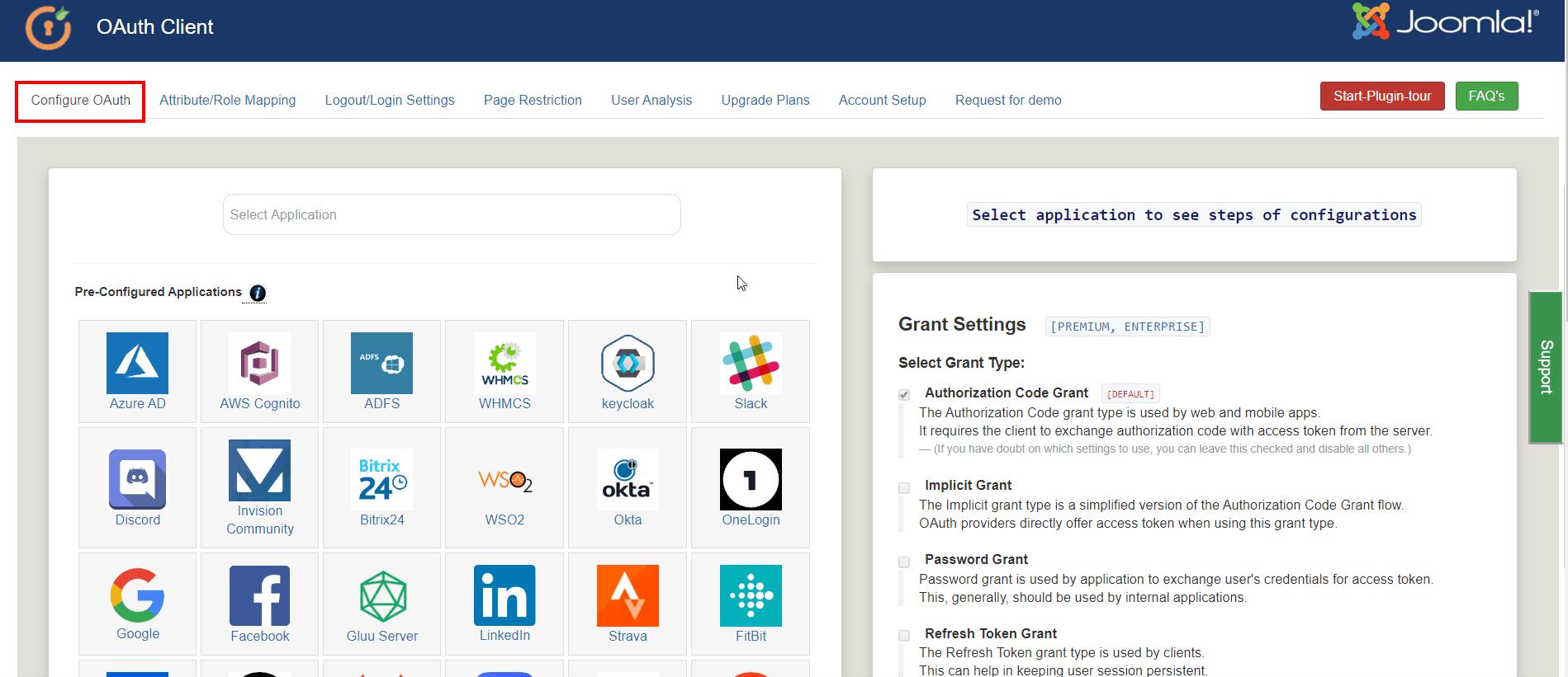 Joomla OAuth Client Plugin - Configure OAuth