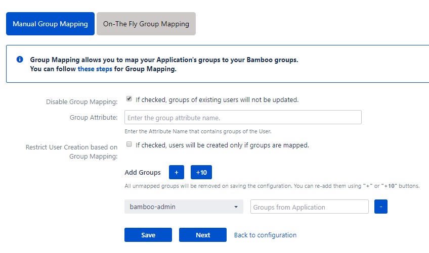 Bamboo Oauth Single Sign On - SSO - Manual group mapping