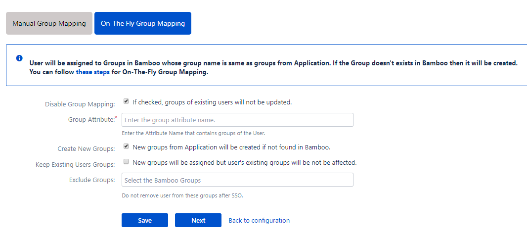 Bamboo oauth Single Sign On - SSO - On the fly group mapping
