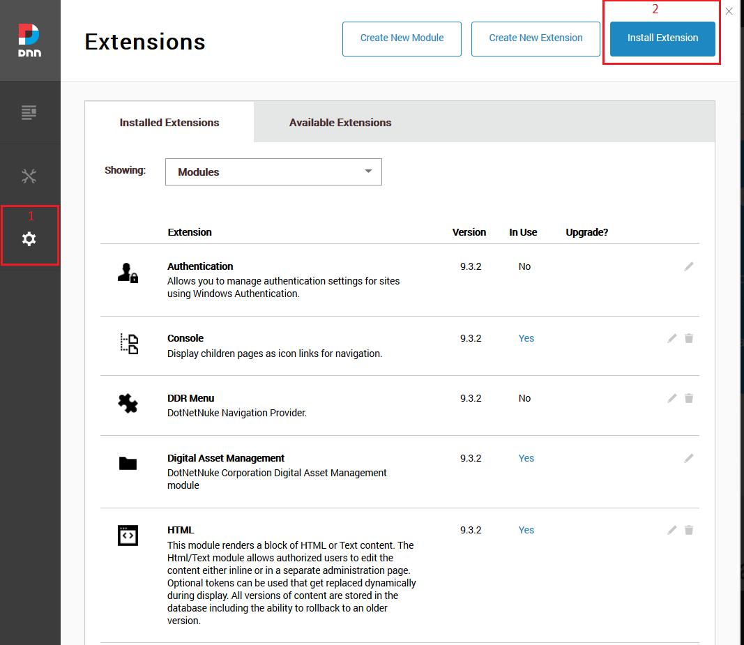 dotnetnuke site add extension