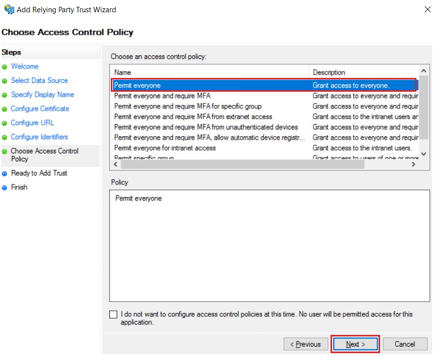 SAML Single Sign On (SSO) using ADFS Identity Provider, Access Control Policy