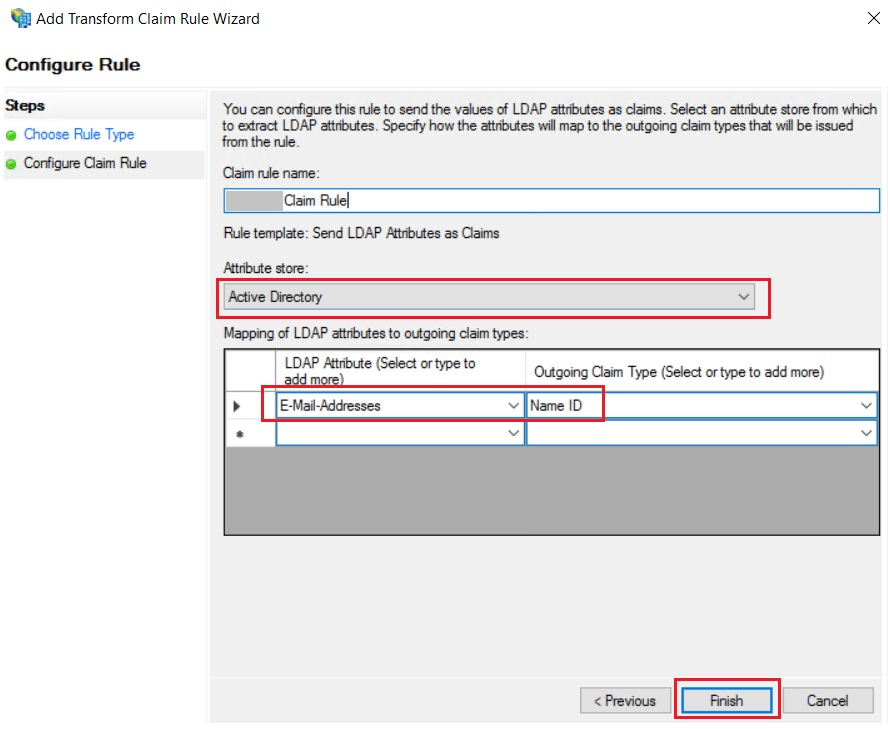 SAML Single Sign On (SSO) using ADFS Identity Provider, Add Transform claim rule wizard