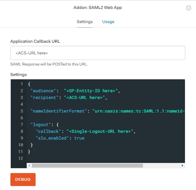 SAML Single Sign On (SSO) using Aauth0 Identity Provider, application callback URL