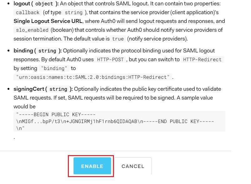 SAML Single Sign On (SSO) using Auth0 Identity Provider, Enable window