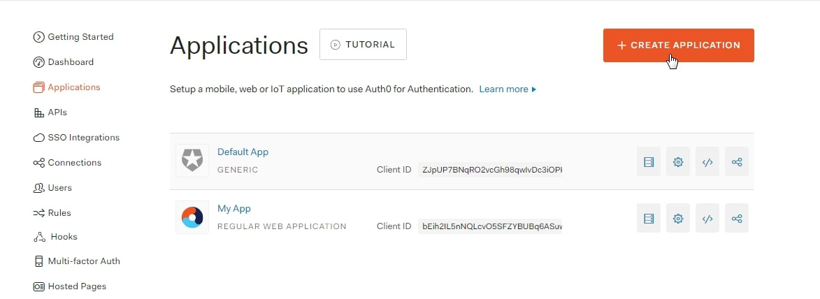 SAML Single Sign On (SSO) using Aauth0 Identity Provider, Create Application