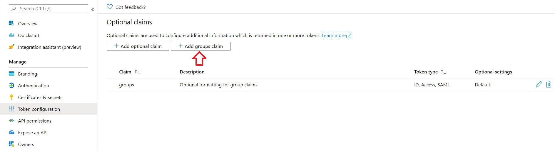 Single Sign On(SSO)using Azure AD, Add groups claim