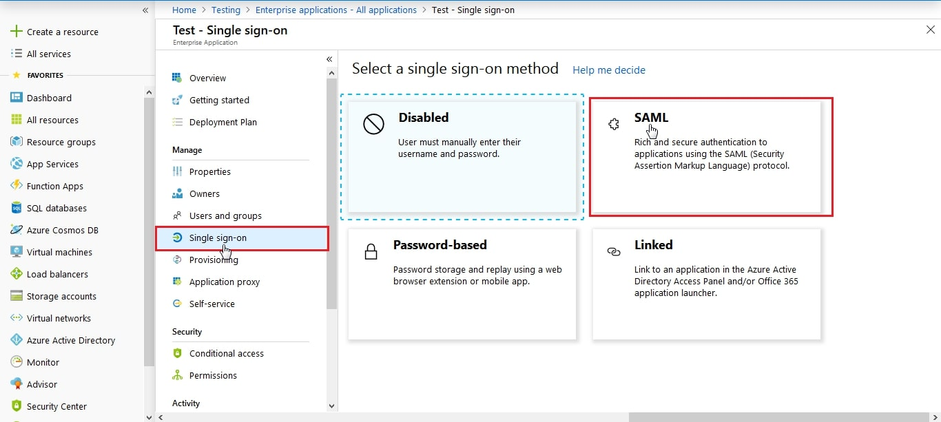 Azure AD SAML SSO select saml