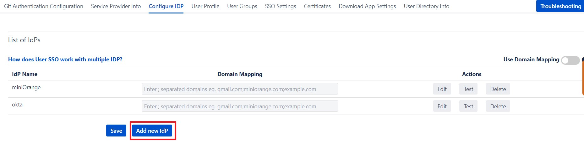 SAML Single Sign On (SSO) into Bitbucket Service Provider, Add New IDP