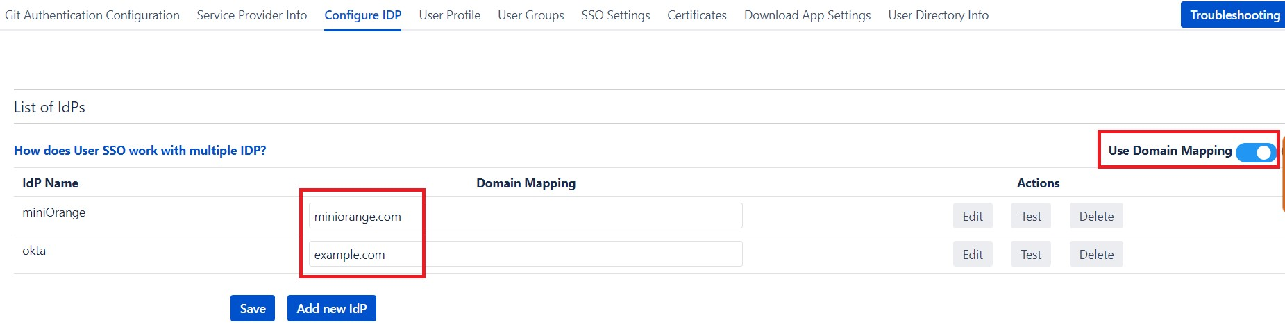 SAML Single Sign On (SSO) into Bitbucket Service Provider, Domain Mapping Configuration