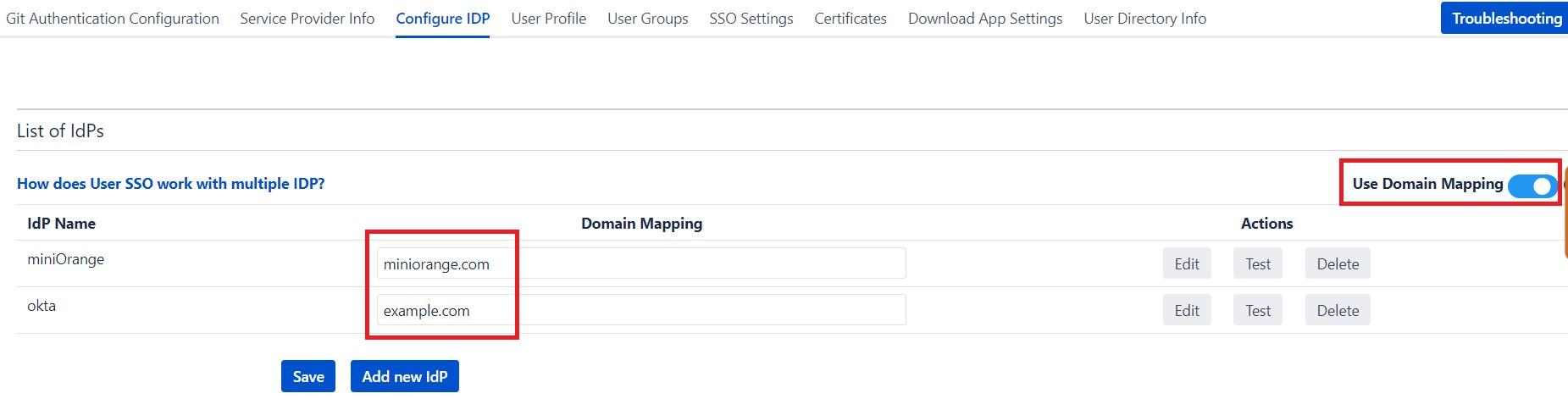 SAML Single Sign On (SSO) into Bitbucket Service Provider, Domain Mapping Configuration