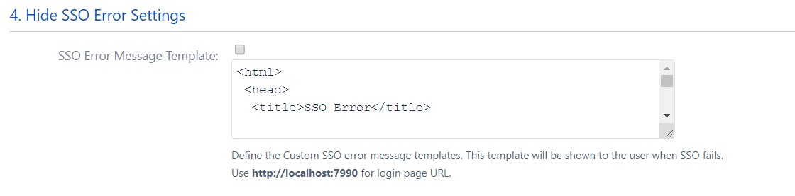 SAML Single Sign On (SSO) into Bitbucket Service Provider, SAML Error Message Settings