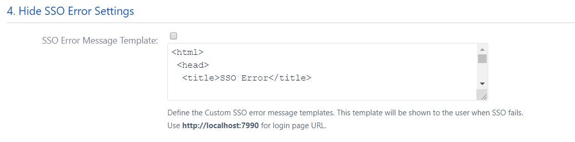 SAML Single Sign On (SSO) into Bitbucket Service Provider, SAML Error Message Settings