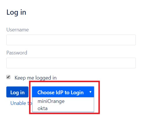 SAML Single Sign On (SSO) into Bitbucket Service Provider, IDP List While Login