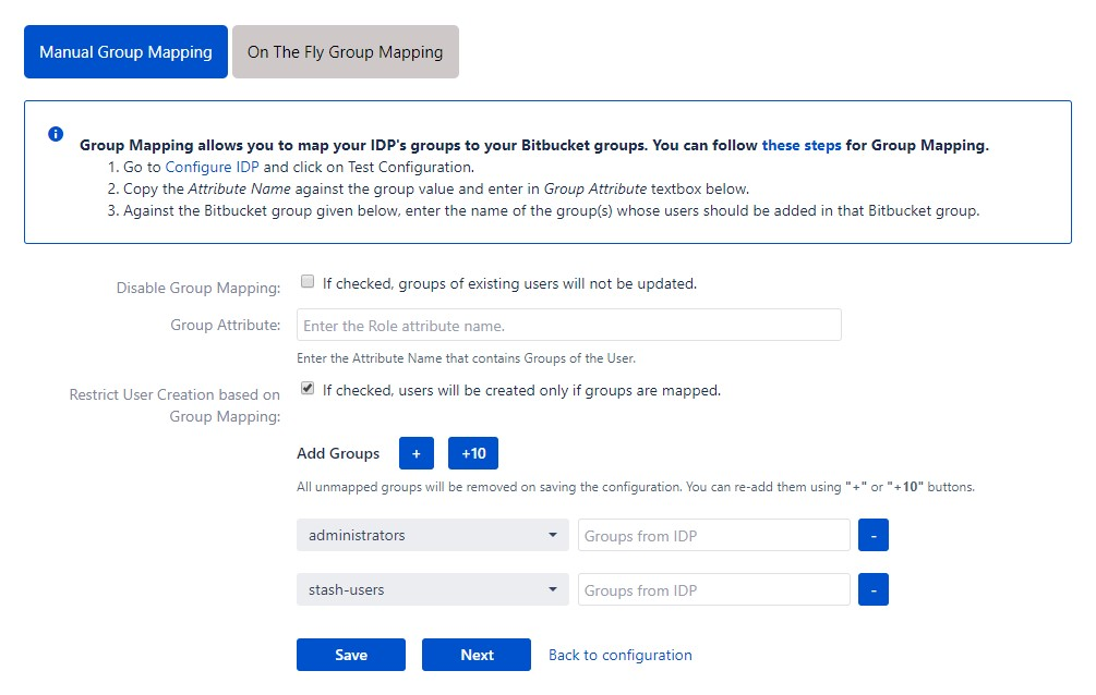 SAML Single Sign On (SSO) into Bitbucket Service Provider, Manual group mapping