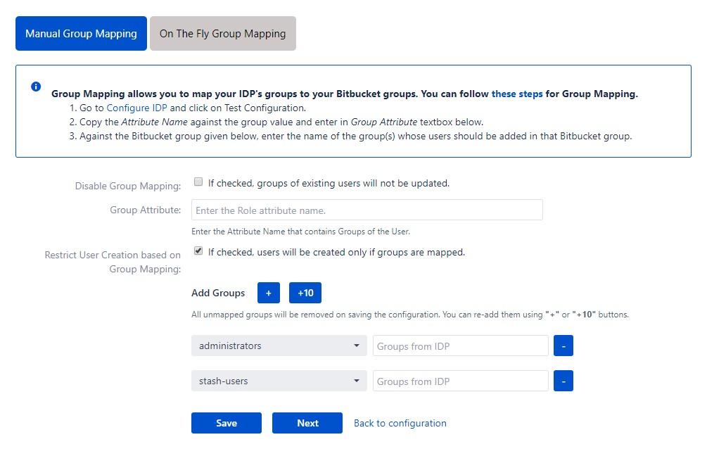 SAML Single Sign On (SSO) into Bitbucket Service Provider, Manual group mapping