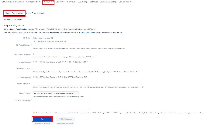 SAML Single Sign On (SSO) into Bitbucket Service Provider, Configure IDP Metadata Manually