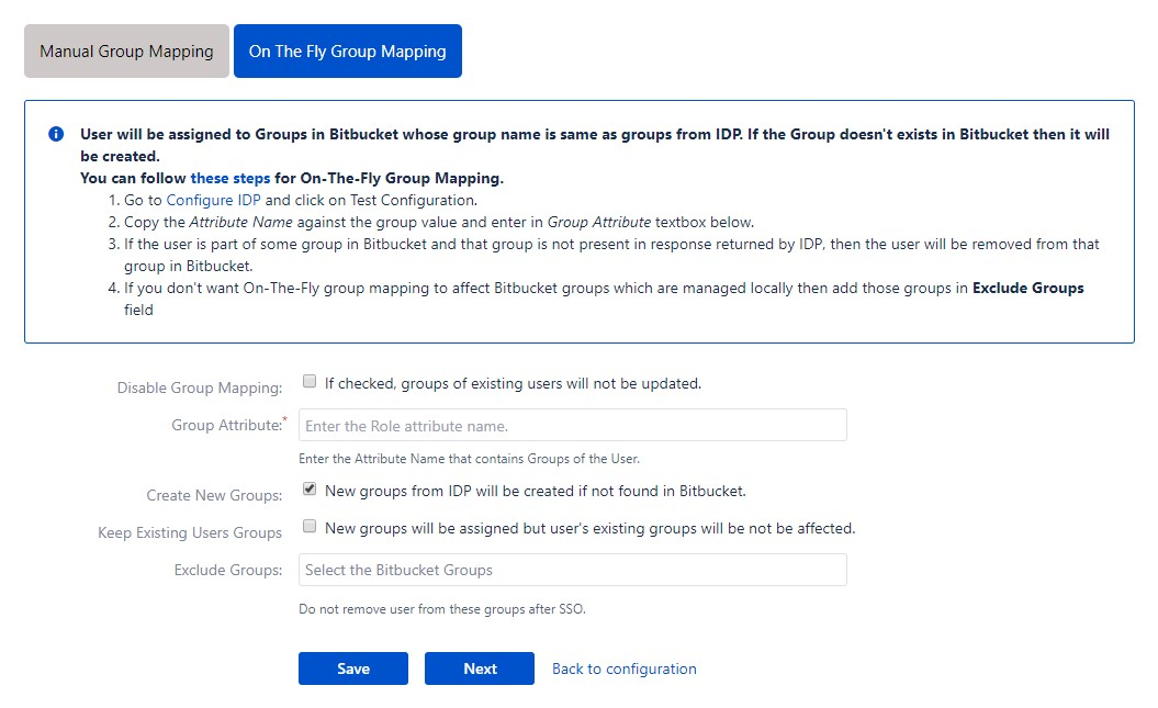 SAML Single Sign On (SSO) into Bitbucket Service Provider, On the fly group mapping