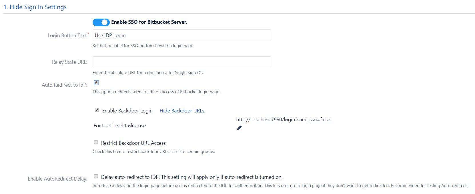 SAML Single Sign On (SSO) into Bitbucket Service Provider, Sign In Settings