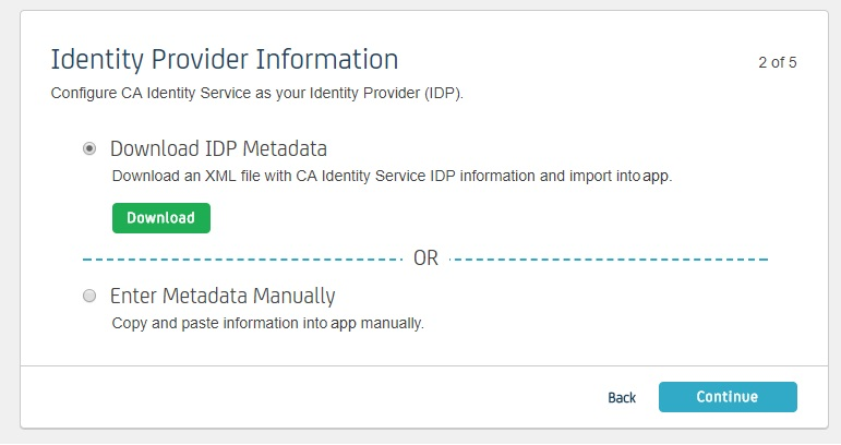 SAML Single Sign On (SSO) using CA Identity Identity Provider  Download IDP Metadata