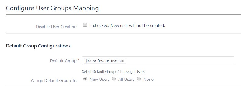 SAML Single Sign On (SSO) into Jira, Default groups in group mapping