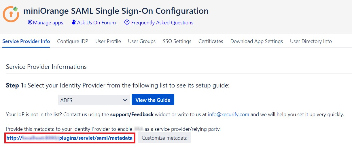 SAML Single Sign On (SSO) using Identity Provider, Service Provider's Metadata Link