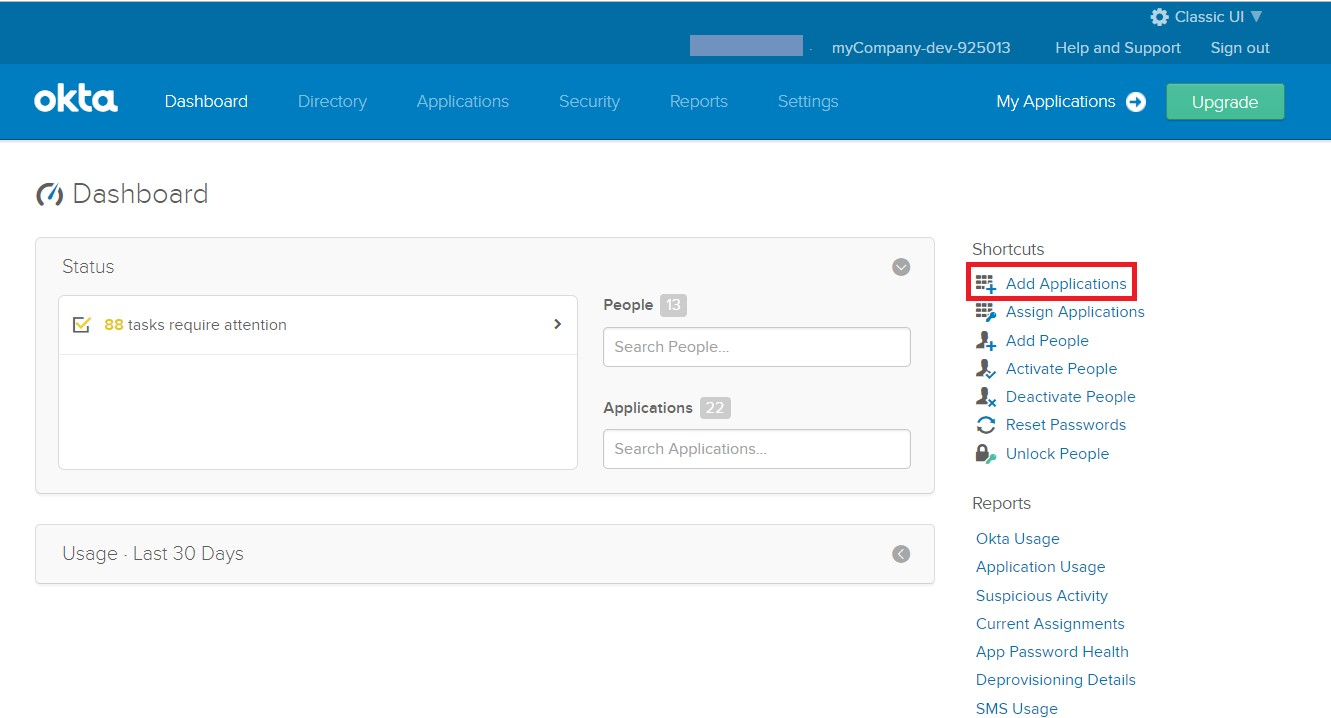 SAML Single Sign On (SSO) using Okta Identity Provider, Add New Application into Okta