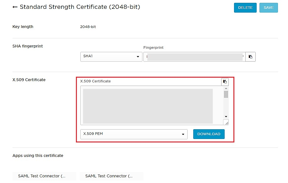 SAML Single Sign On (SSO) using Onelogin Identity Provider, Configure Application Certificate