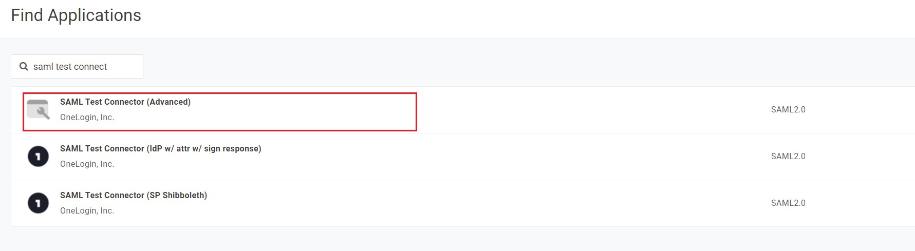 SAML Single Sign On (SSO) using Onelogin Identity Provider,Onelogin SSO login, Find SAML Application