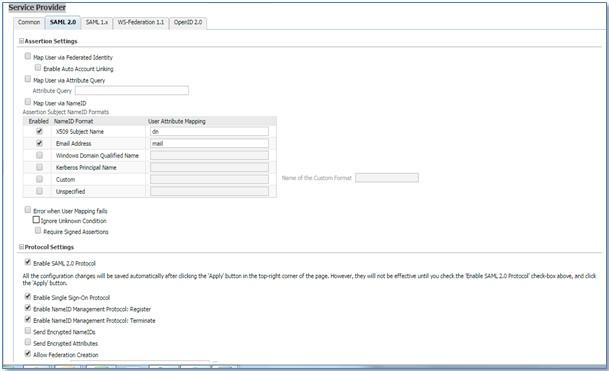 SAML Single Sign On (SSO) using Oracle Identity Provider, Service Provider Configuration