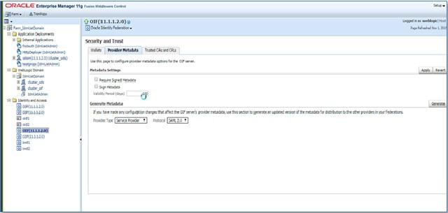 SAML Single Sign On (SSO) using Oracle Identity Provider, Download IDP Metadata