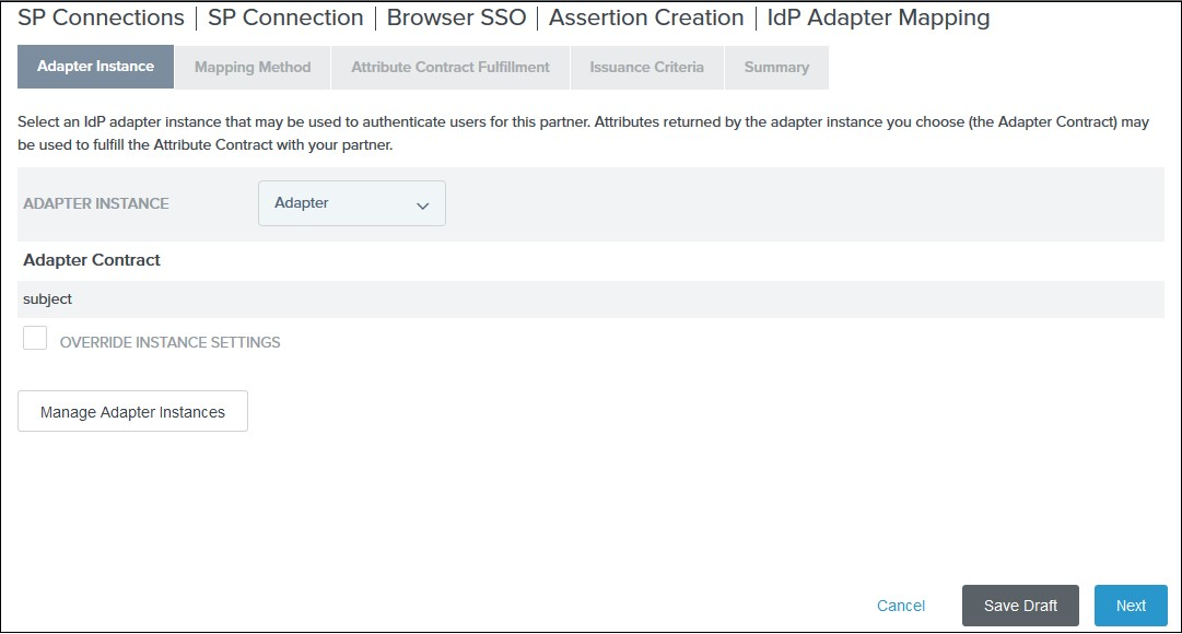 SAML Single Sign On (SSO) using PingFederate Identity Provider, Select Adapter Instance