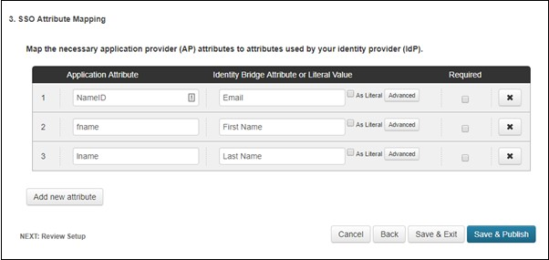 SAML Single Sign On (SSO) using Ping One Identity Provider, Attribute Mapping