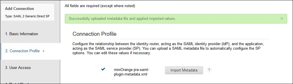 SAML Single Sign On (SSO) using RSA SecureID Identity Provider, Choose Connection Profile