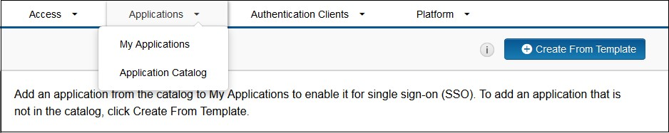SAML Single Sign On (SSO) using RSA SecureID Identity Provider, Create App From Template