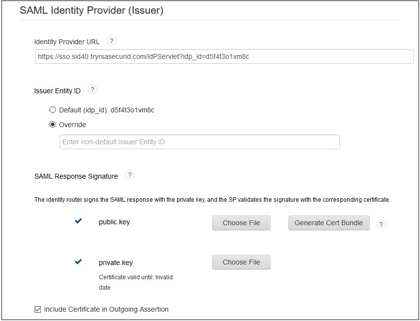 SAML Single Sign On (SSO) using RSA SecureID Identity Provider, SAML Identity Provider