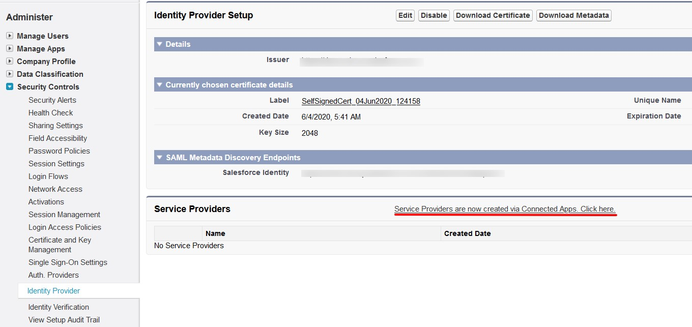SAML Single Sign on (SSO) using Salesforce Identity Provider, Create SP via connected apps