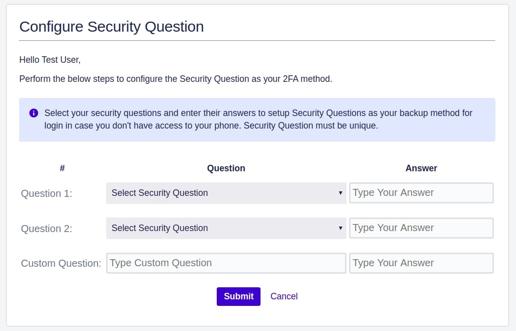 Setup Two Factor (2FA / MFA) Authentication for Bamboo using OTP, KBA, TOTP methods Security question