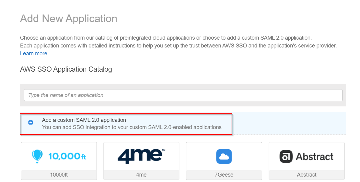 SAML Single Sign On(SSO) using AWS Identity Provider, Custom Application
