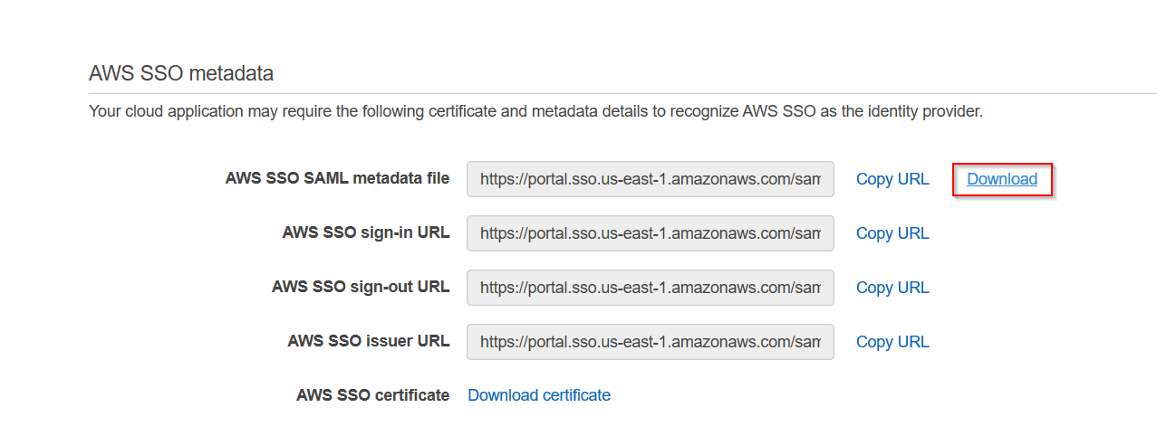 SAML Single Sign On(SSO) using AWS Identity Provider, Download Metadata file