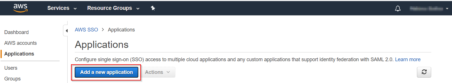 SAML Single Sign On(SSO) using AWS Identity Provider,Add Application