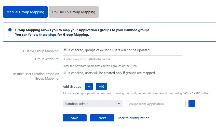 OAuth / OpenID Single Sign On (SSO) into Bamboo Service Provider, Manual group mapping
